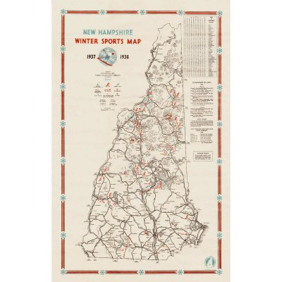 """Full-size, high-quality reprint of this rare New Hampshire Map (front & back).Image Area: 16 1/8"""" x 25 1/4"""" 1937-38 New Hampshire Winter Sports Map"""