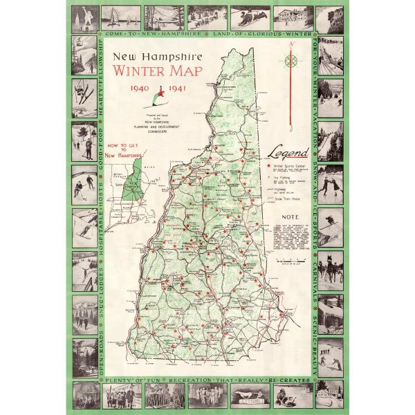 Vintage NH Winter Sports Map 1940-41
