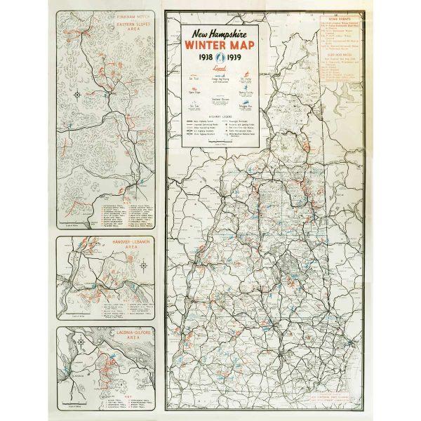 Vintage NH Winter Map 1938-39
